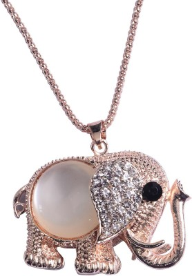Fully Pendants For Girls With Chain 18K Rose Gold Diamond, Cubic Zirconia Alloy, Rose Gold, Crystal Locket Set