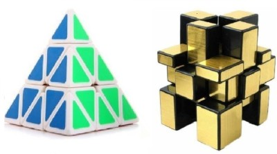 Mayatra's Shengshou Golden Mirror & Pyraminx Speed White Cube Combo  (2 Pieces)(2 Pieces)  available at flipkart for Rs.499