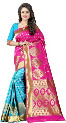 The Fashion Outlets Self Design, Plain Banarasi Cotton, Silk Saree(Blue)