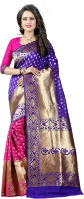 The Fashion Outlets Self Design, Plain Banarasi Cotton, Silk Saree(Pink)