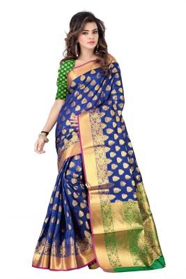 Hinayat Fashion Self Design Banarasi Silk Saree(Dark Blue)