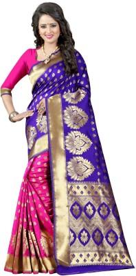 The Fashion Outlets Self Design, Plain Banarasi Cotton, Silk Saree(Blue)