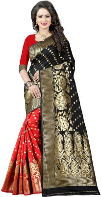 The Fashion Outlets Self Design, Plain Banarasi Cotton, Silk Saree(Red)