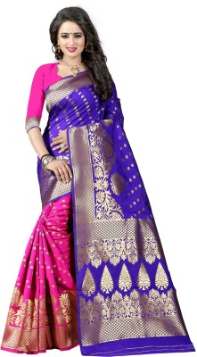 The Fashion Outlets Self Design, Plain Banarasi Cotton, Silk Saree(Pink)