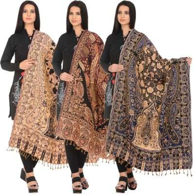 Hardys Pure Wool Self Design Women Shawl(Multicolor)