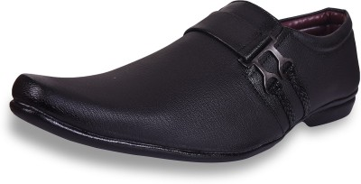 ROAD STAG Men's Derby formal Slip On For Men(Black)