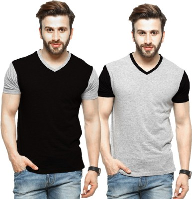 Tripr Printed Men V-neck Multicolor T-Shirt(Pack of 2)