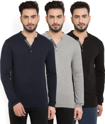 Billion PerfectFit Solid Men Henley Multicolor T Shirt   Pack of 3  Billion Men's T shirts