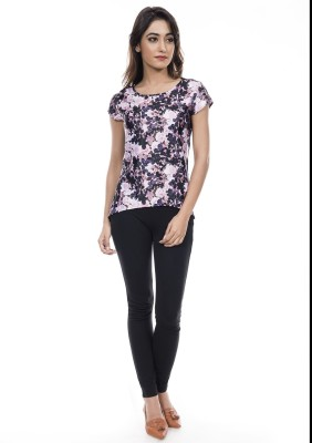 Amadore Casual Short Sleeve Floral Print Women Multicolor Top