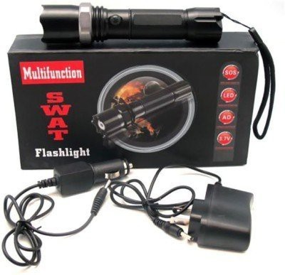 Skywalk SWAT Multifunction Rechargeable LED 50W Flashlight Torch with LUXEON 3 Watt LED Bulb + AC Adaptor + 12V DC Car Charger + Rechargeable Battery Torch(Black : Rechargeable)  available at flipkart for Rs.419