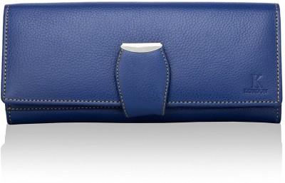 K London Women Casual Blue, Silver Genuine Leather Wallet(8 Card Slots)