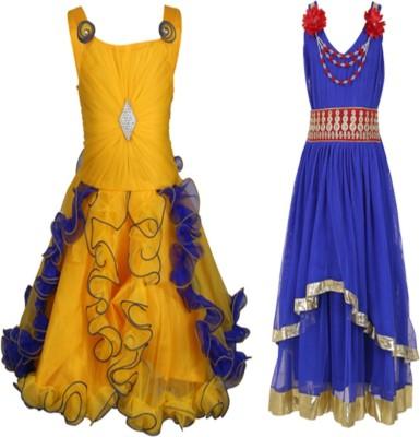 Crazeis Girls Maxi/Full Length Party Dress(Multicolor, Sleeveless)