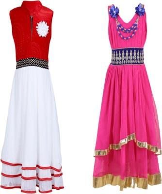 Crazeis Girls Maxi/Full Length Party Dress(Red, Sleeveless)