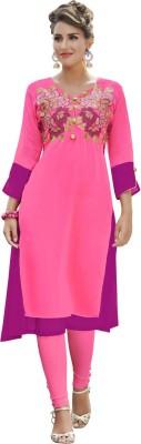 Saara Women Solid, Embroidered Flared Kurta(Pink, Purple)