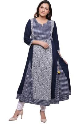 Ayan Women Printed Anarkali Kurta(Blue, White)