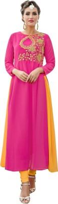 Saara Women Solid, Embroidered Anarkali Kurta(Pink, Yellow)