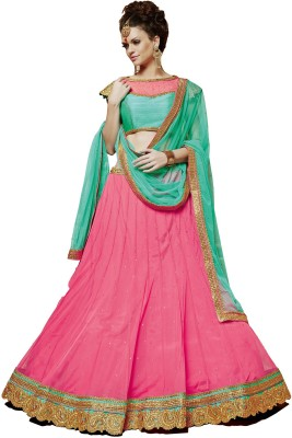 Melluha Embroidered Semi Stitched Lehenga, Choli and Dupatta Set(Pink)