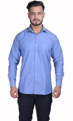 VINTAGE LOOK Men Solid Casual Blue Shirt