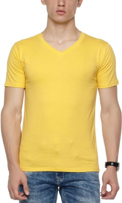 Wear Your Opinion Solid Men's V-neck Yellow T-Shirt
