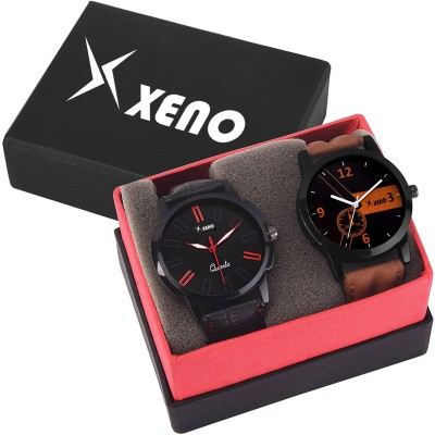 Xeno ZD-601-603 Leather Chronograph Two Combo New Look Fashion Stylish Titanium Boys & Gents Watch  - For Men