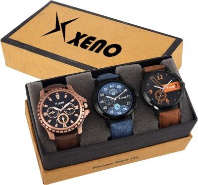 Xeno ZD-602-603-78X Leather Chronograph Triple Combo New Look Fashion Stylish Titanium Boys & Gents Watch  - For Men