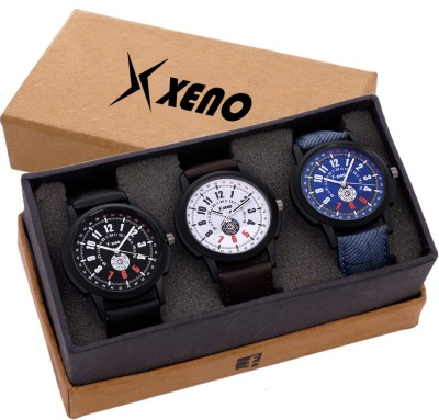 Xeno Latest Fashionable Black Blue Designer Combo New Look Stylish Titanium Boys Watch  - For Men