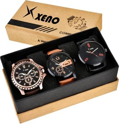 Xeno ZD-601-603-78x Leather Chronograph Triple Combo New Look Fashion Stylish Titanium Boys & Gents Watch  - For Men