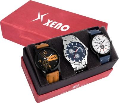 Xeno Leather Chronograph Triple Combo New Look Stylish Titanium Boys Watch  - For Men