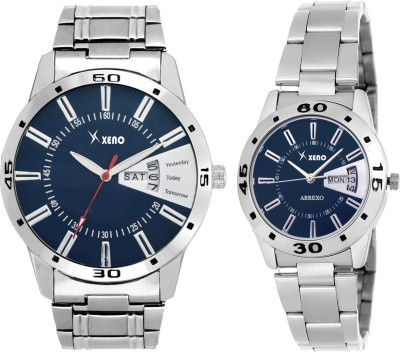 Xeno Latest Fashionable Black Blue Designer Combo New Look Stylish Day Date Boys & Girls or Men & Women Watch  - For Couple