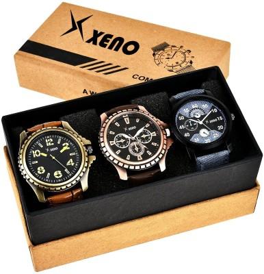 Xeno ZD-602-315-78x Leather Chronograph Triple Combo New Look Fashion Stylish Titanium Boys & Gents Watch  - For Men