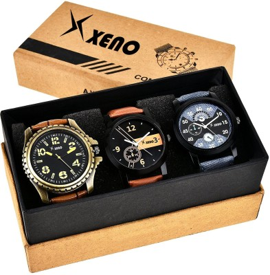 Xeno ZD-602-603-315 Leather Chronograph Triple Combo New Look Fashion Stylish Titanium Boys & Gents Watch  - For Men