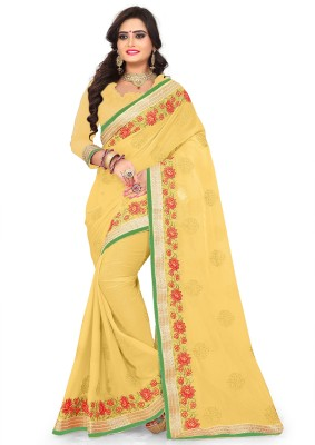b1881c4d3457c Kedar Fab Embroidered Bollywood Faux Georgette Saree(Yellow)
