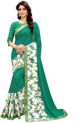 Radhika Saree Printed Bollywood Pure Crepe, Silk Saree(Green, Multicolor)