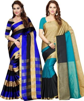 9a9f15e036e6f Ishin Printed Bollywood Art Silk Saree(Pack of 2