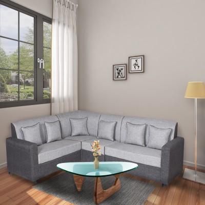 GIOTEAK Fabric 6 Seater  Sofa(Finish Color - Grey)