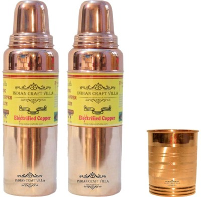 Indian Craft Villa Handmade 100% Set Of 2 Pure Copper Thermos Water Bottle Volume 850 ML  1 Glass for Storage Water Good Health Benefits Yoga 2000 ml