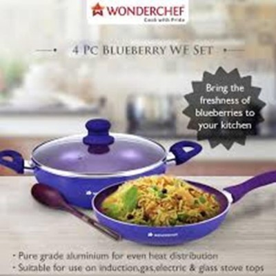 Wonderchef 4 Pc Blueberry WF Set Induction Bottom Cookware Set(PTFE (Non-stick), Aluminium, 4 - Piece) at flipkart