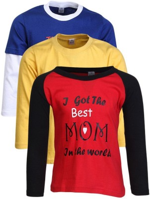 Gkidz Boys Printed Cotton T Shirt(Red, Pack of 3)