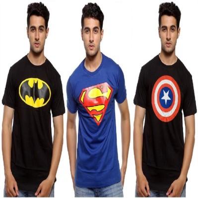 Smartees Graphic Print Men Round Neck Blue, Black T-Shirt(Pack of 3)