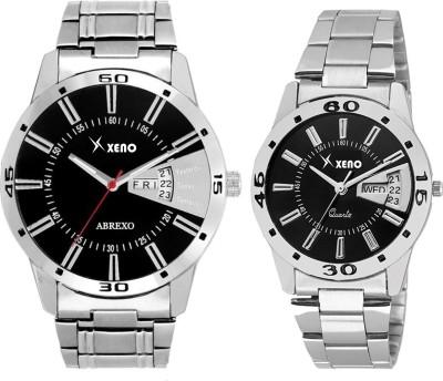 Xeno DD24COUPLE Latest Modish Black Designer Combo New Look Stylish Day Date Boys & Girls or Men & Women Watch  - For Couple