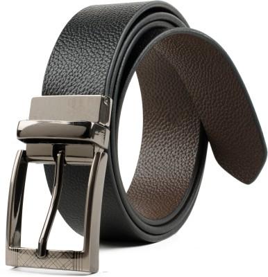 Winsome Deal Men Formal, Casual Black Genuine Leather Reversible Belt
