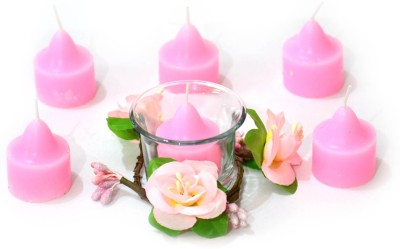 Glowsh Flowers Candles Candle(Pink, Pack of 6) at flipkart