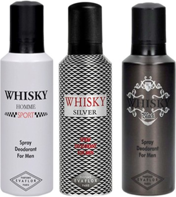 d2ed74ec3ca10 Evaflor WHISKY SPORT, SILVER   BLACK DEO Deodorant Spray - For Men(450 ml