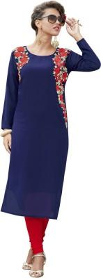 Saara Women Solid, Embroidered Straight Kurta(Blue)