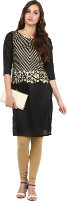 Ziyaa Casual Self Design Women Kurti Black