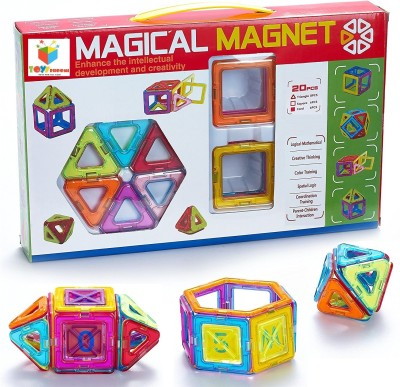Toys Bhoomi 20 piece Magical Magnetic Block Stacking Tiles Learning STEM Activity Playset(Multicolor)