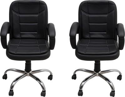Flipkart Perfect Homes Warren Leatherette Office Arm Chair(Black)