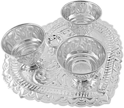 JPearls Classic Puja Thali Silver Pooja & Thali Set(4 Pieces, Silver)  available at flipkart for Rs.6300