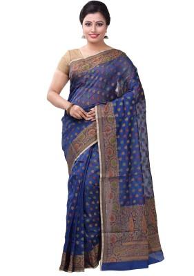 6798a52e6df View Bunkar Floral Print Fashion Silk Cotton Blend Saree Price Online