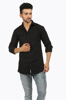 RETWO Men Solid Casual Ribbed Collar Shirt